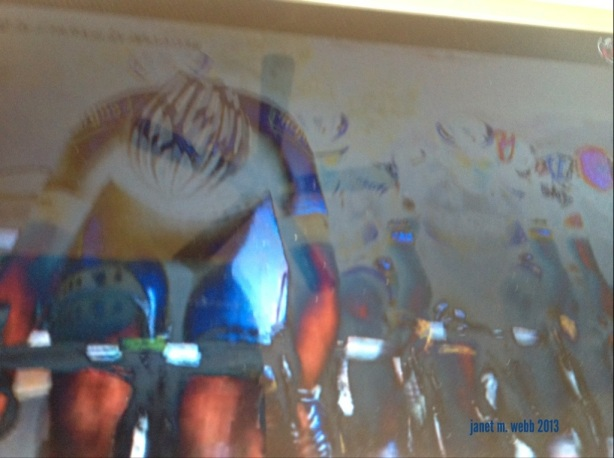 Taken just for fun during the 2013 Tour de France after noticing how the TV looked from one angle