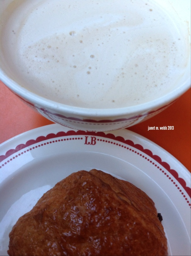 Breakfast--Café au lait and a chocolate croissant